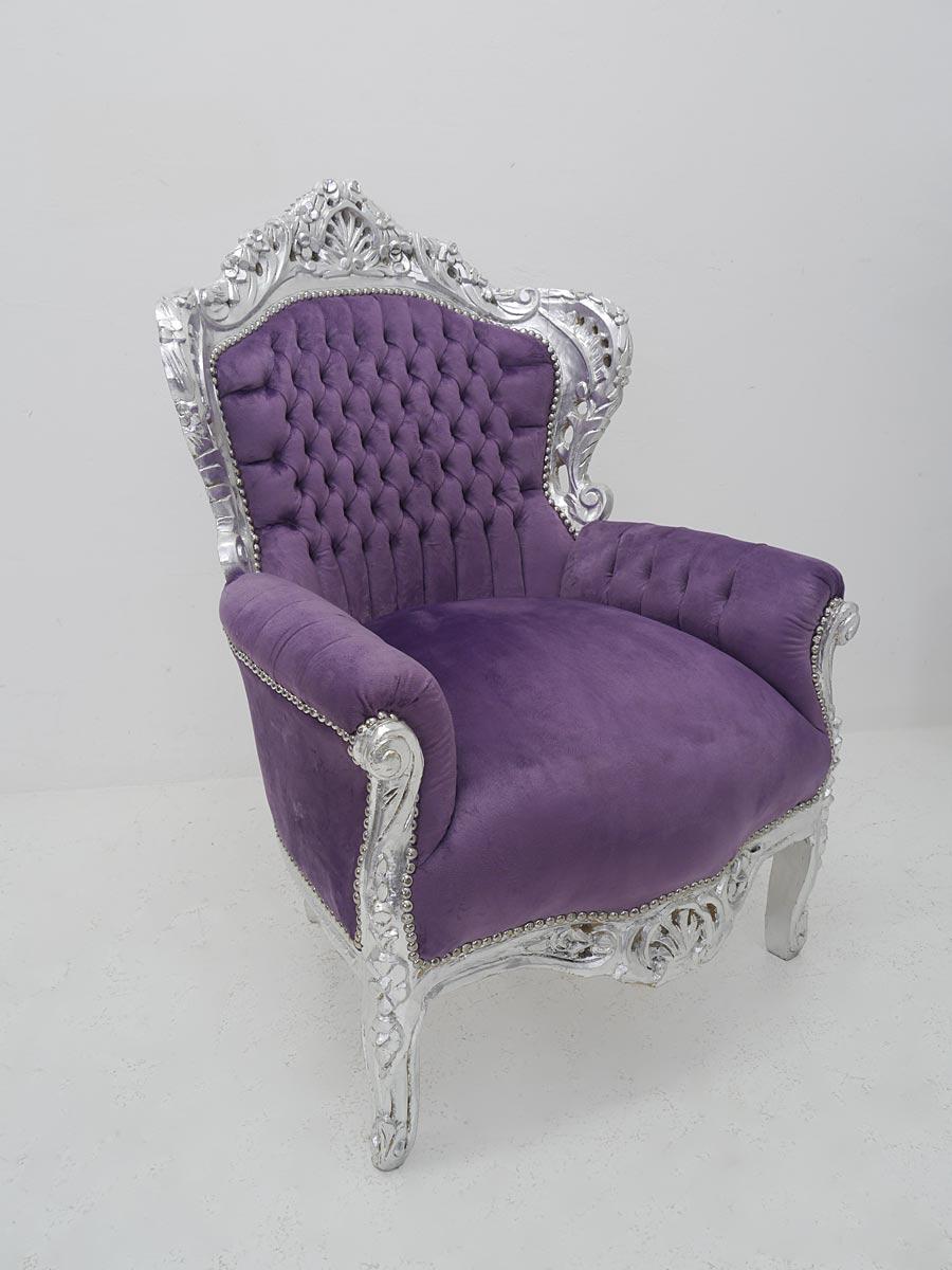 Sessel im barocken Stil in silber/lila
