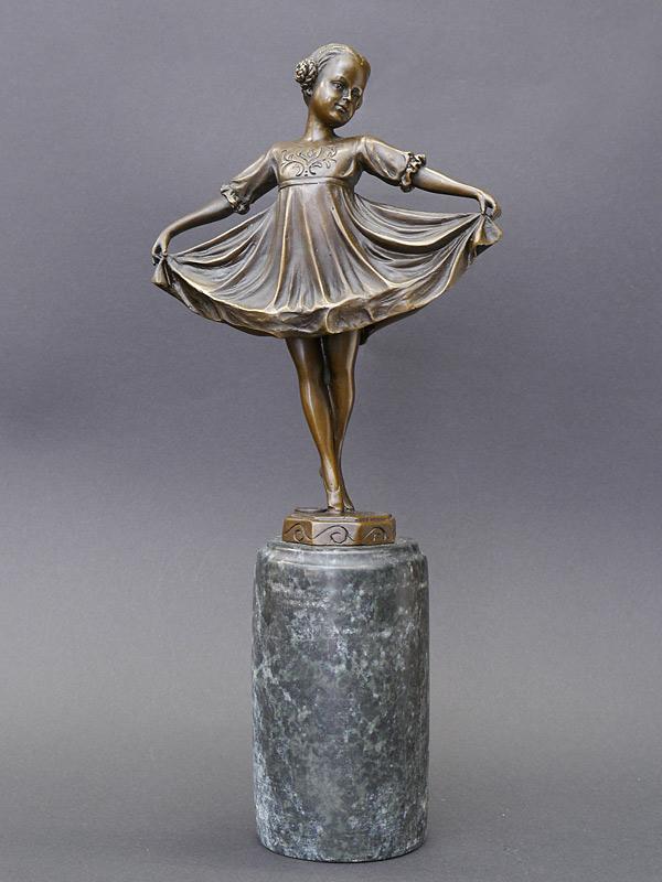 Bronze Figur einer Ballerina auf edlen Marmorsockel