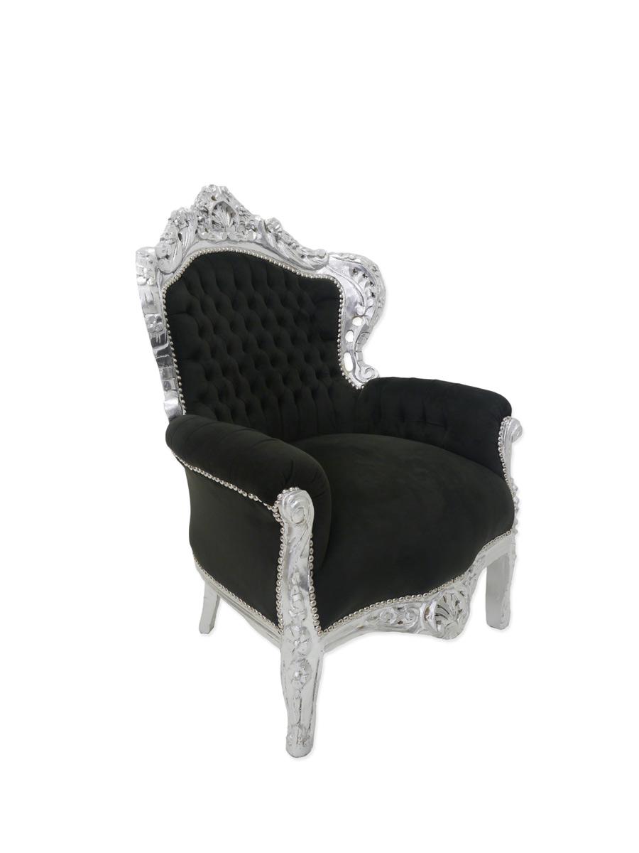 Edler Sessel im Barock Stil in silber / schwarz