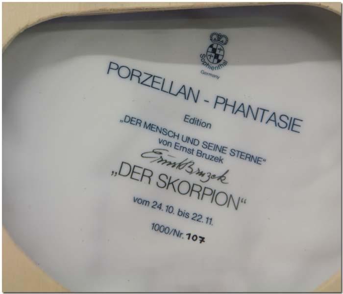 Sophienthal Phantasie Porzellan Teller der Skorpion
