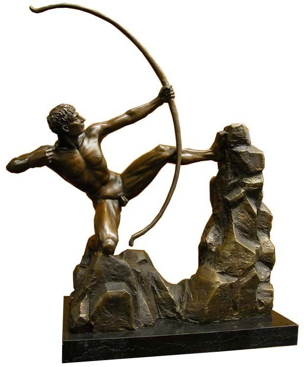 Eindrucksvolle Bronzefigur eines Bogenschützen