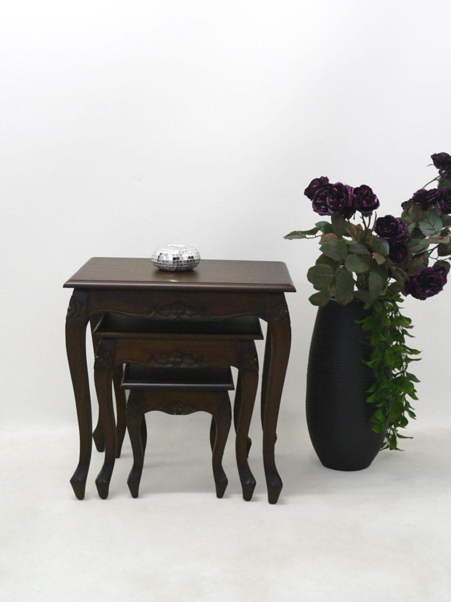 Tisch Beistelltische 3er Set Im Antik Stil Mahagoni Massiv 2540