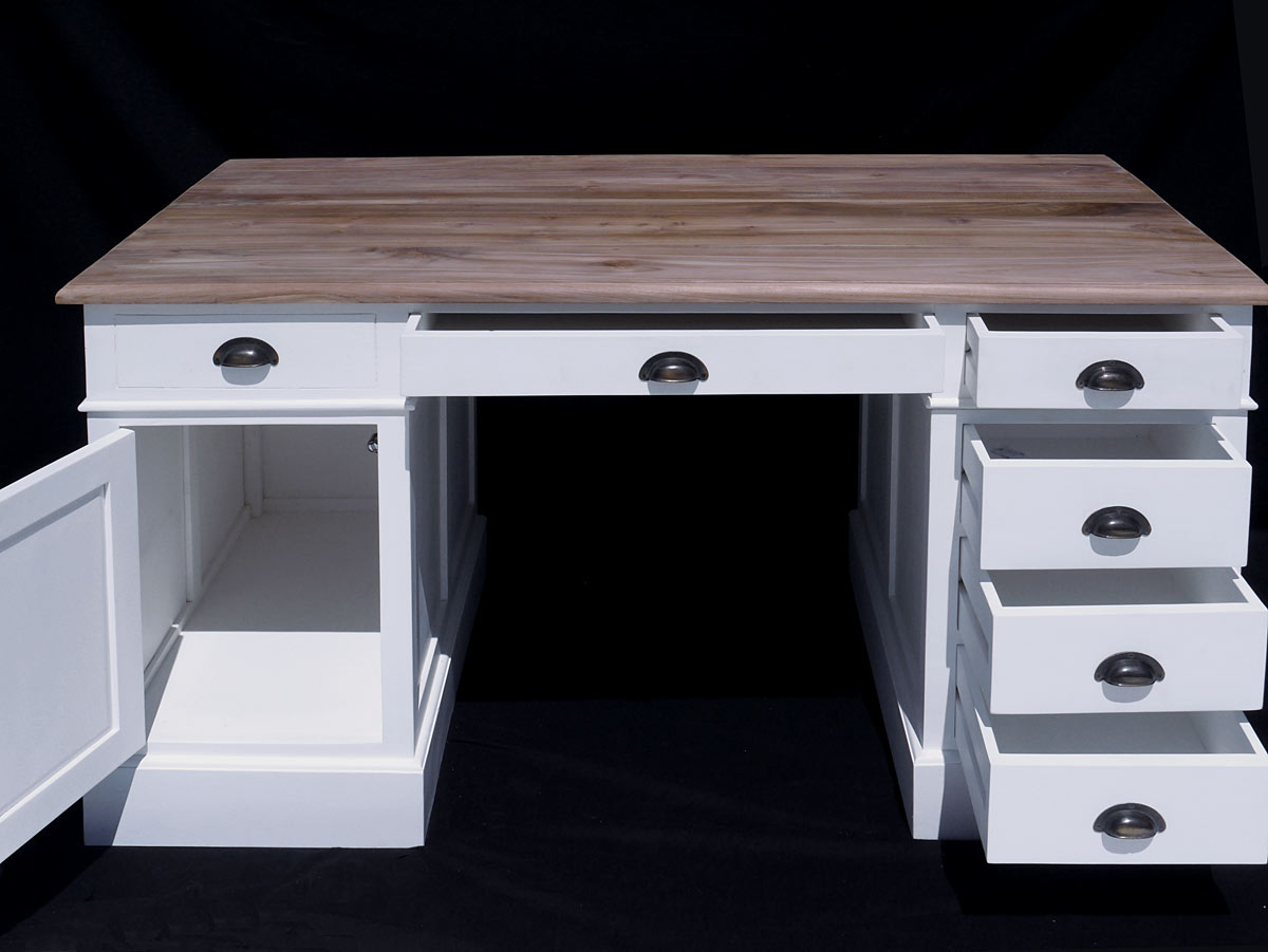 Schreibtisch computertisch b rom bel wei teak for Schreibtisch 2 meter lang