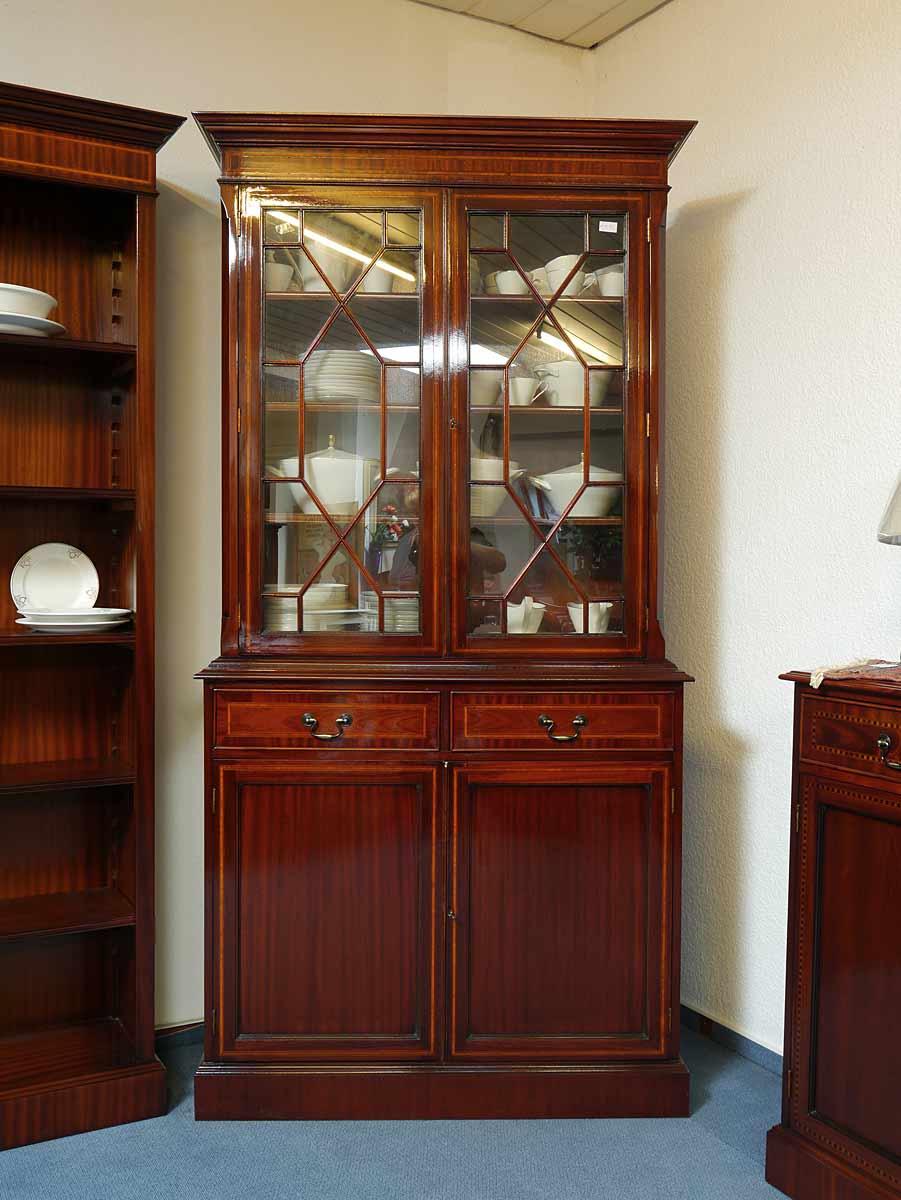 vitrinenschrank bibliothekenschrank schrank engl stil mahagoni intarsien 2779 m bel schr nke. Black Bedroom Furniture Sets. Home Design Ideas