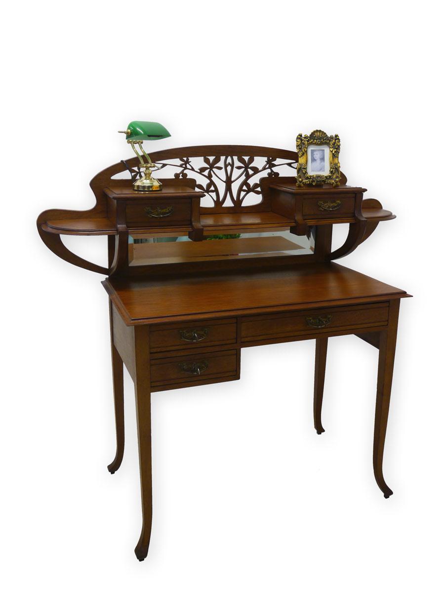 antike fundgrube schreibtisch mit aufsatz damenschreibtisch schreibm bel art nouveau 2870. Black Bedroom Furniture Sets. Home Design Ideas