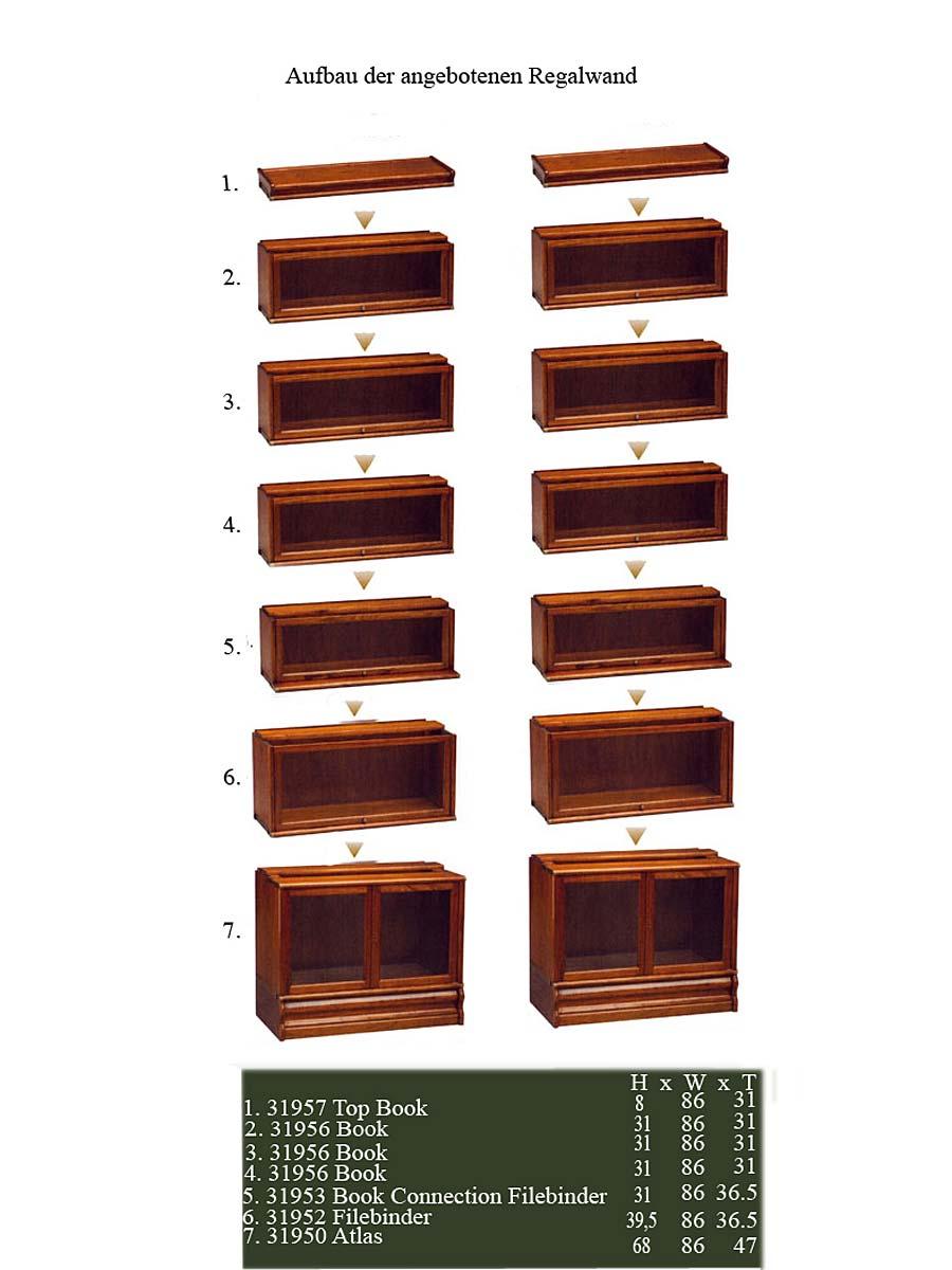 Das Regal in der Breite und Höhe recht frei kombinierbar und es sind verschiedene Regalelemente für unterschiedliche Zwecke verfügbar.