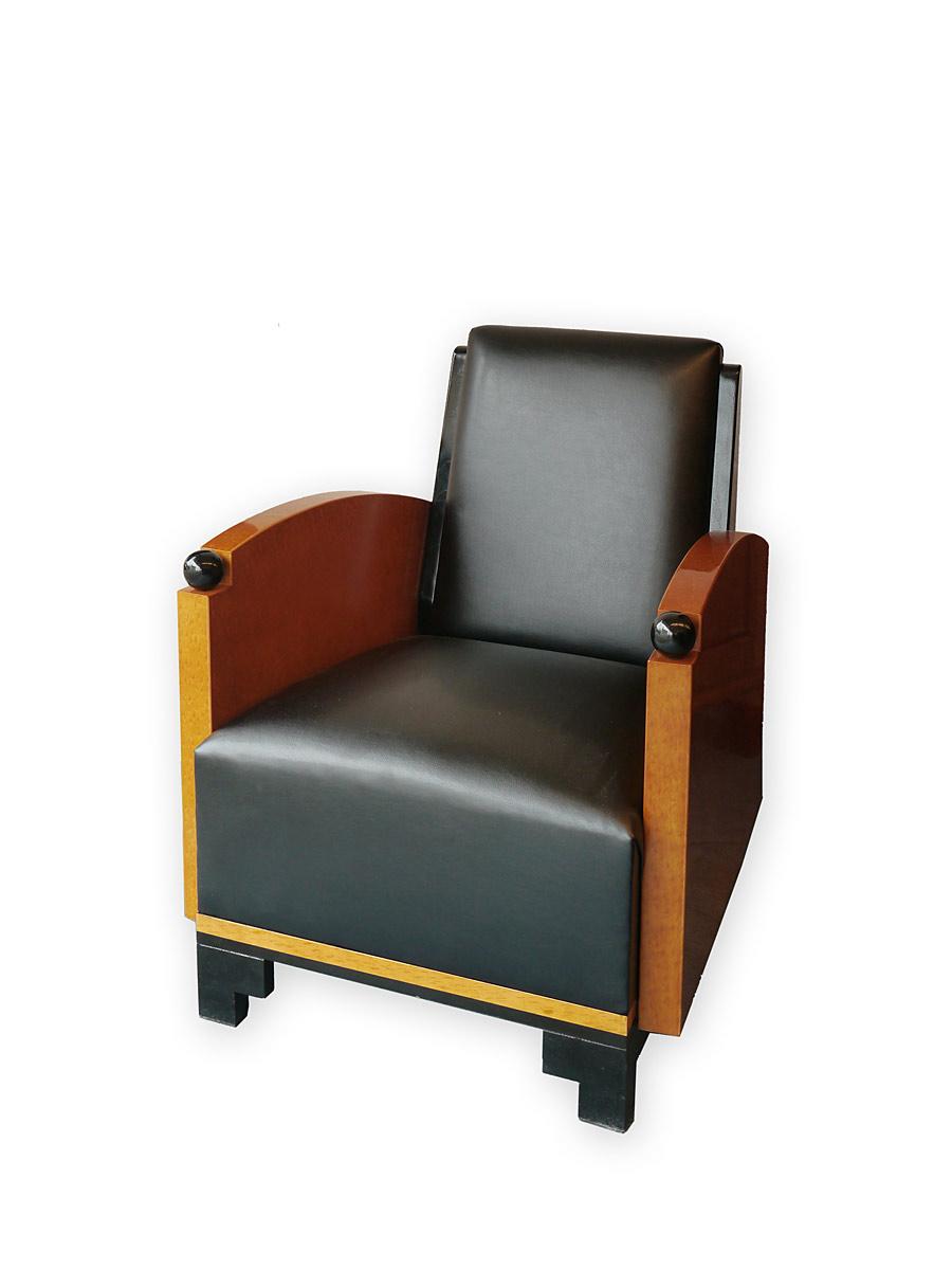 Sitzpolster mit Skai Leder in schwarz