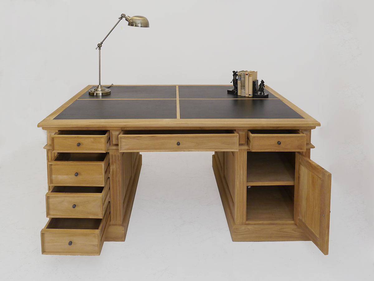 schreibtisch partnerdesk b rom bel teakholz unbehandelt lederauflage 3488 schreibm bel. Black Bedroom Furniture Sets. Home Design Ideas