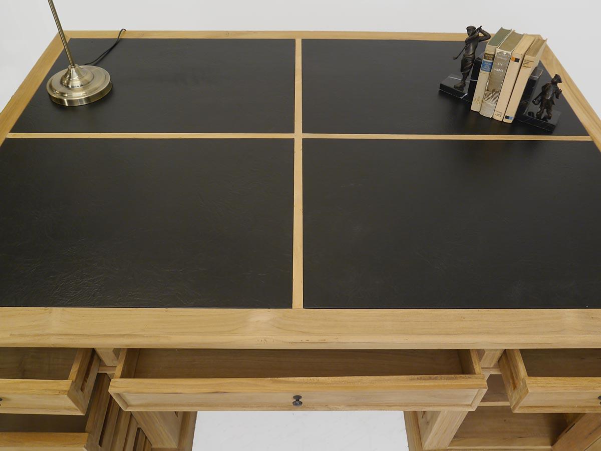 Schreibtischauflage vierteilig aus schwarzem Leder