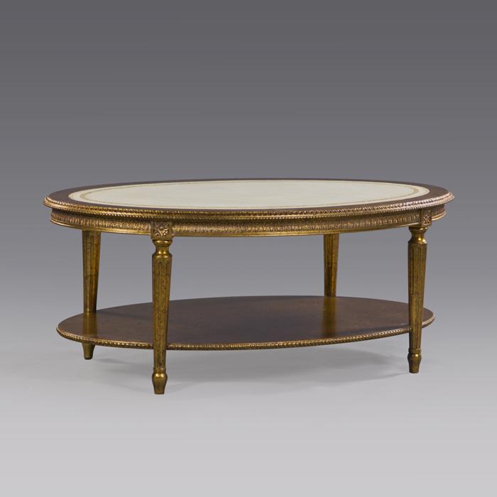 Ovaler couchtisch tisch wohnzimmertisch aus mahagoni mit echtlederauflage 3973 m bel tische - Antiker wohnzimmertisch ...