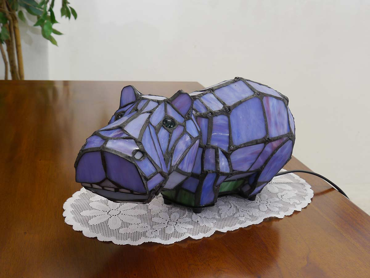 Lampe Nilpferd im Tiffany-Stil