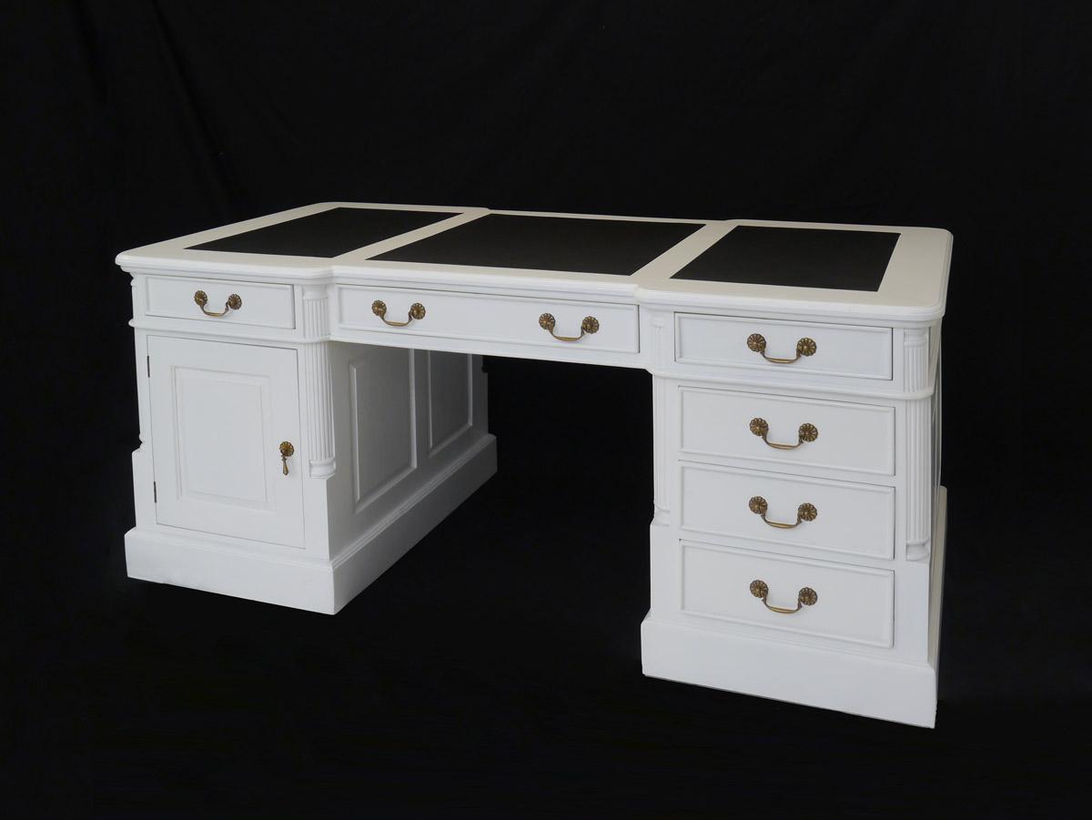 Schreibtisch Partnerdesk Büromöbel Massivholz weiß + Lederauflage ...