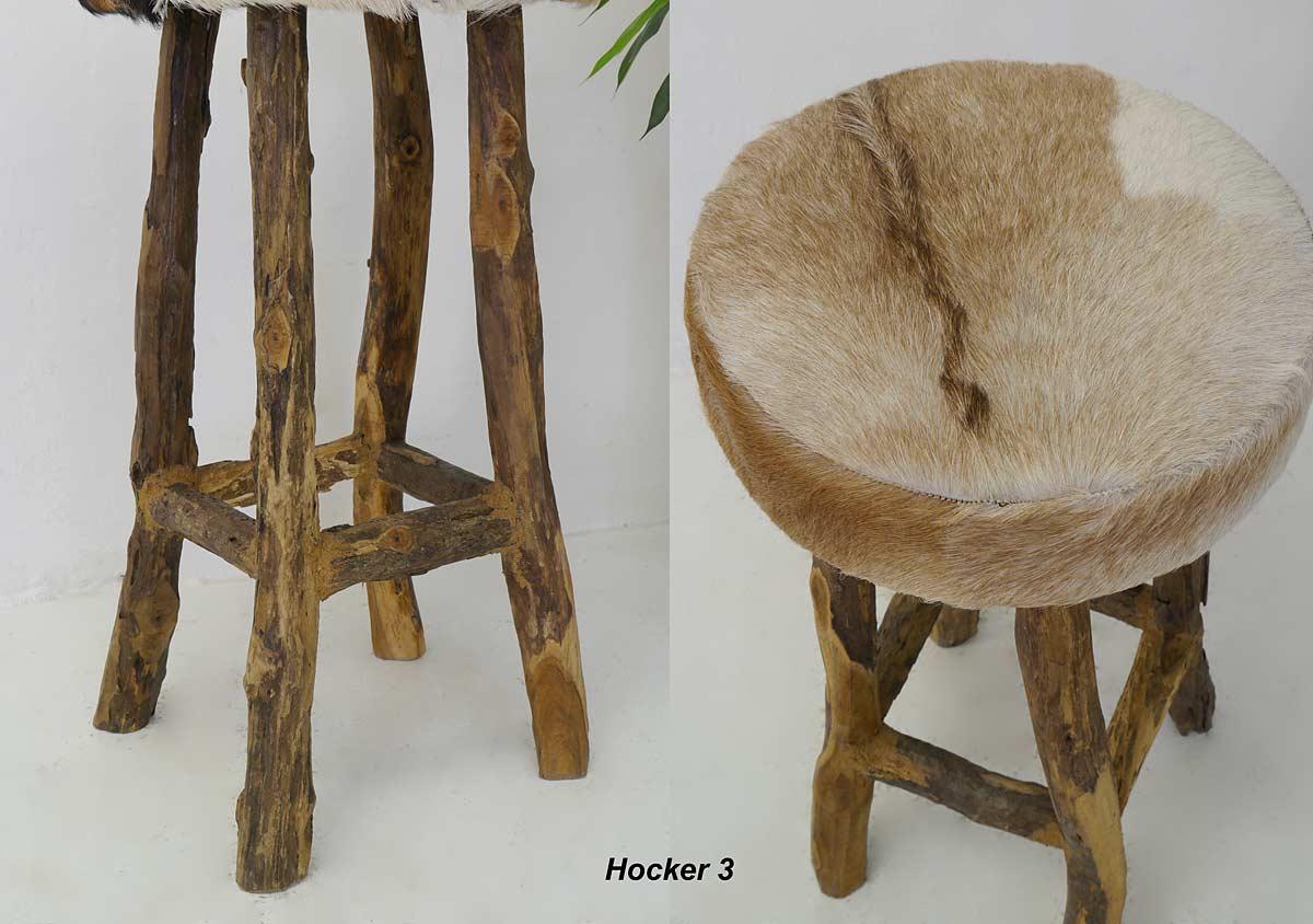 hocker barhocker sitzhocker mit ziegenfell teakholz. Black Bedroom Furniture Sets. Home Design Ideas