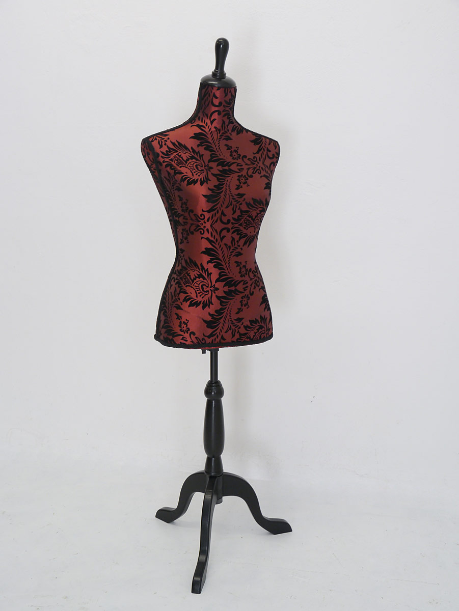 Schneiderpuppe mit Weinrotem Textilbezug