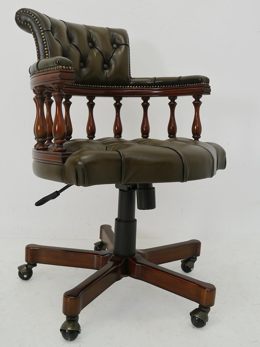 b rostuhl chefsessel b rosessel chesterfield design olivgr n echtleder 4274 m bel sitzm bel. Black Bedroom Furniture Sets. Home Design Ideas