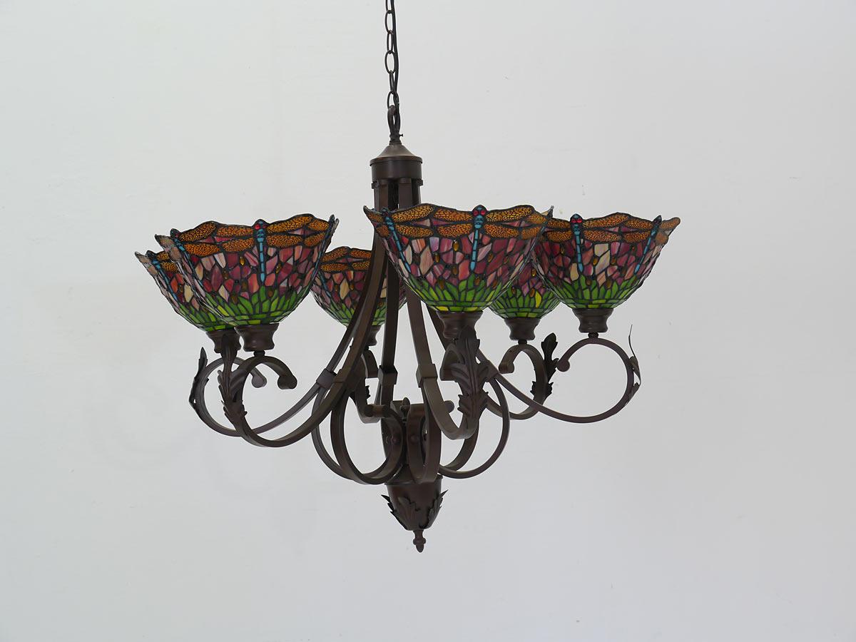 lampe leuchte deckenlampe deckenleuchte im tiffany stil libelle 6 flammig 4285 lampen. Black Bedroom Furniture Sets. Home Design Ideas