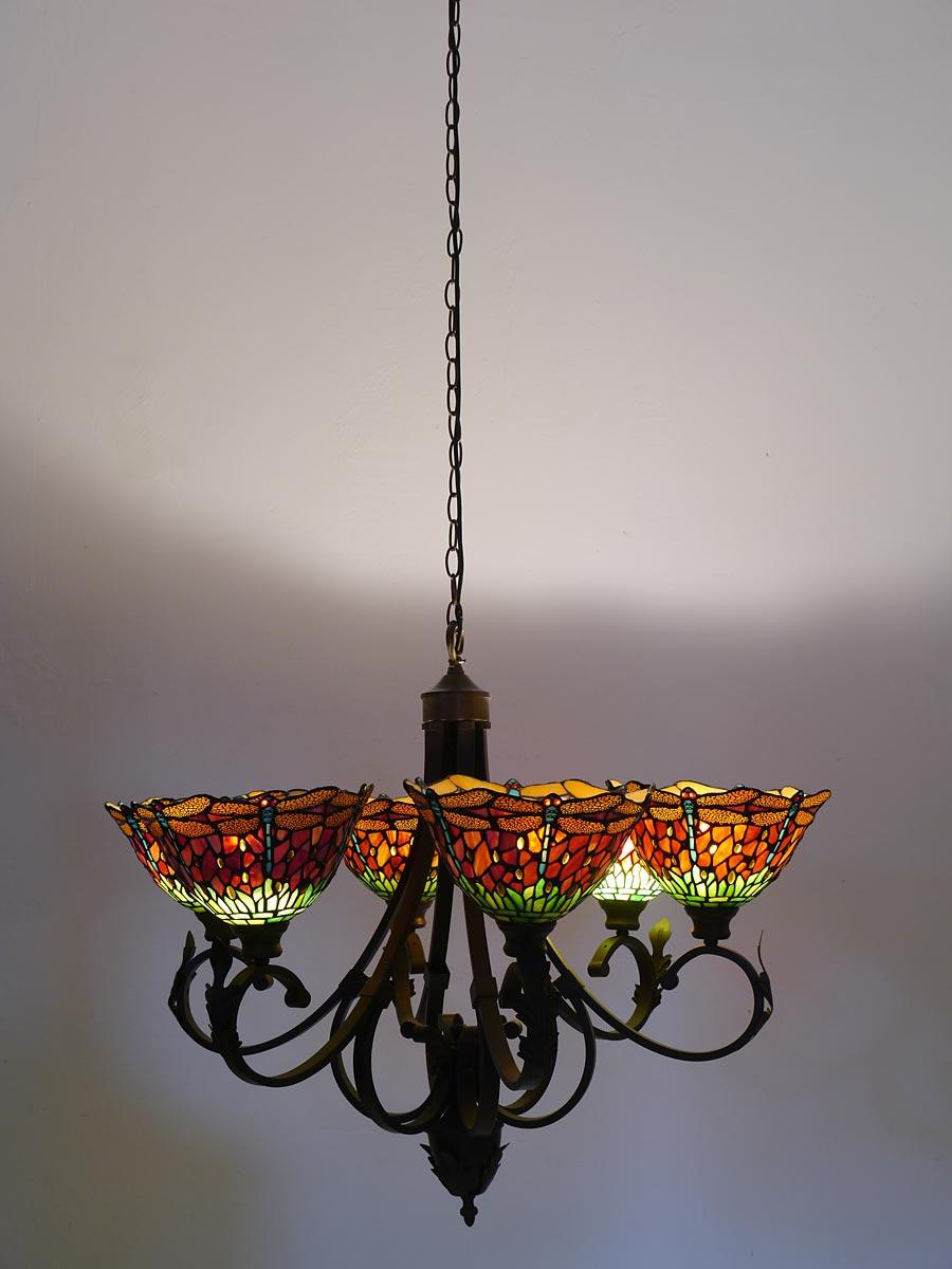 6-flammige Lampe aus Messing