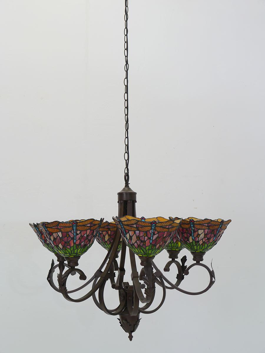 Deckenlampe mit 6 Lampenschirmen in Tiffamny-Technik