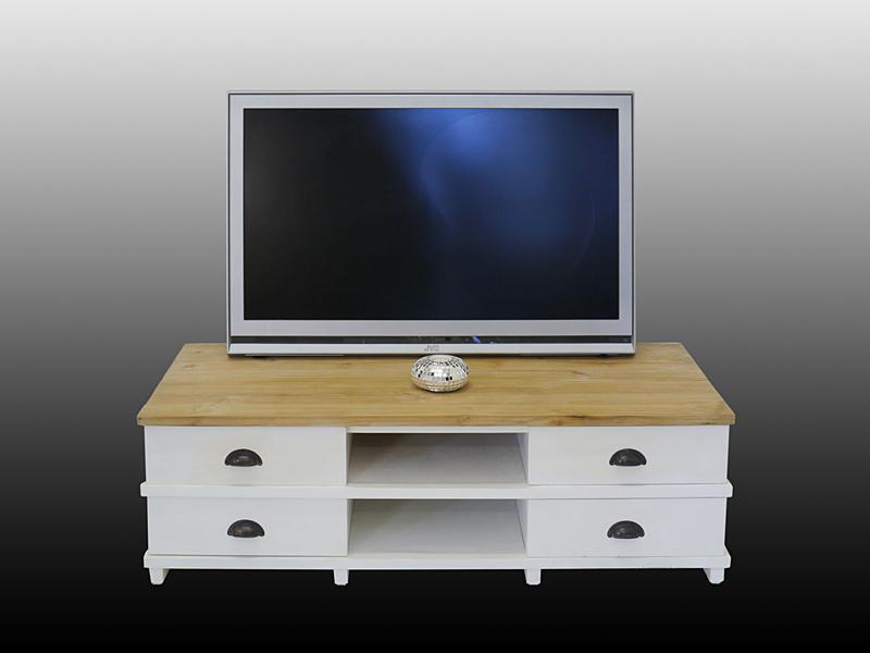 TV-Schrank Massivholz in weiß/natur