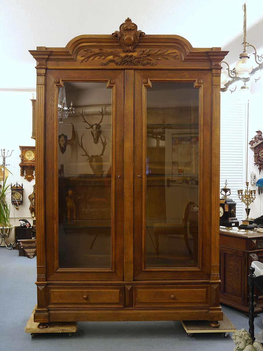 schrank vitrine b cherschrank antik gr nderzeit um 1880 eiche massiv 4923 m bel schr nke vitrinen. Black Bedroom Furniture Sets. Home Design Ideas