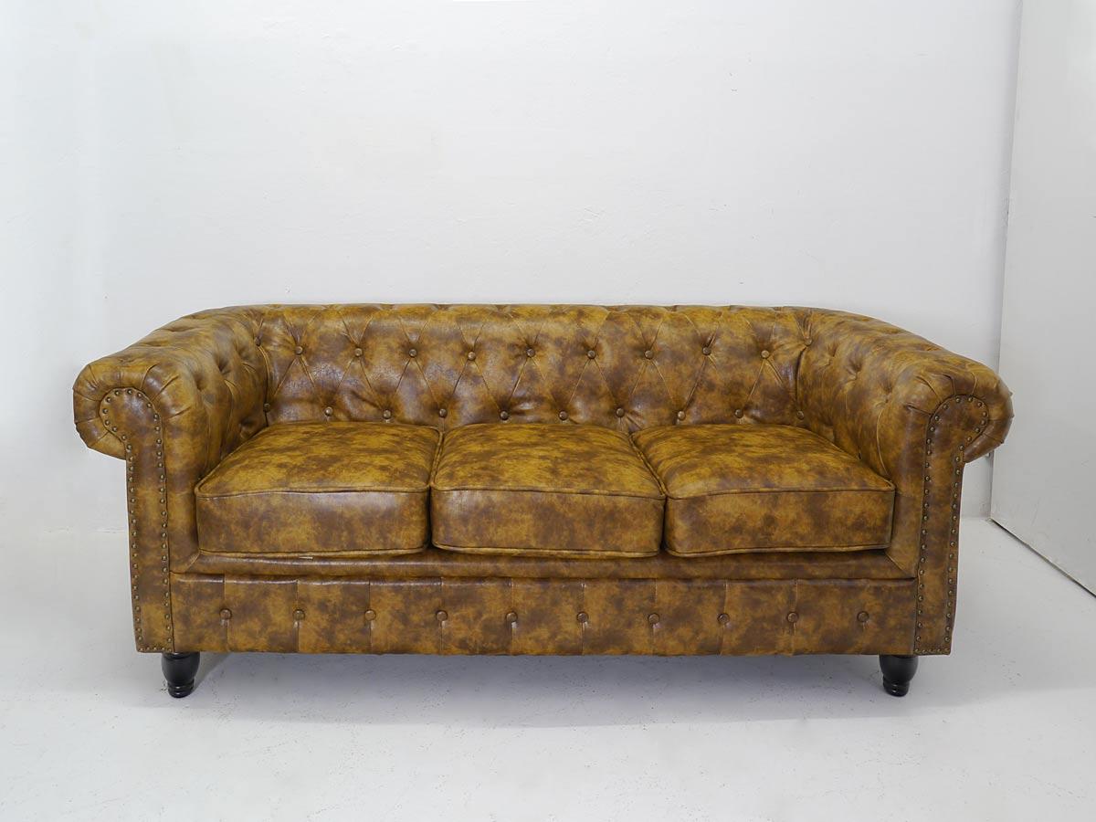 3-Sitzer mit braunem Leder