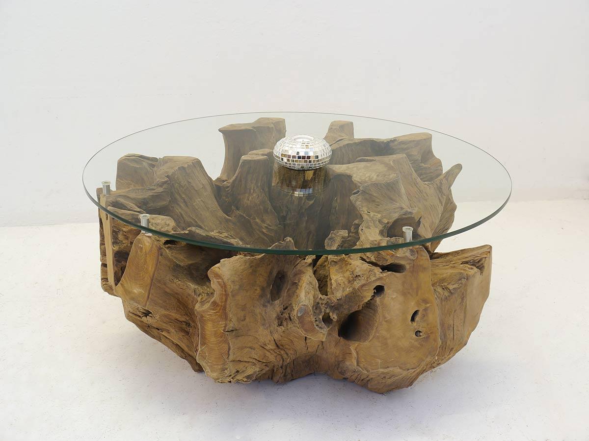couchtisch glastisch tisch wohnzimmertisch wurzelholz runde glasplatte 4982 m bel tische. Black Bedroom Furniture Sets. Home Design Ideas
