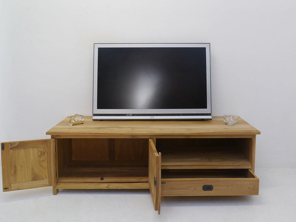 lowboard tv schrank fernsehtisch aus teakholz unbehandelt 160 cm breit 4994 m bel kommoden und. Black Bedroom Furniture Sets. Home Design Ideas