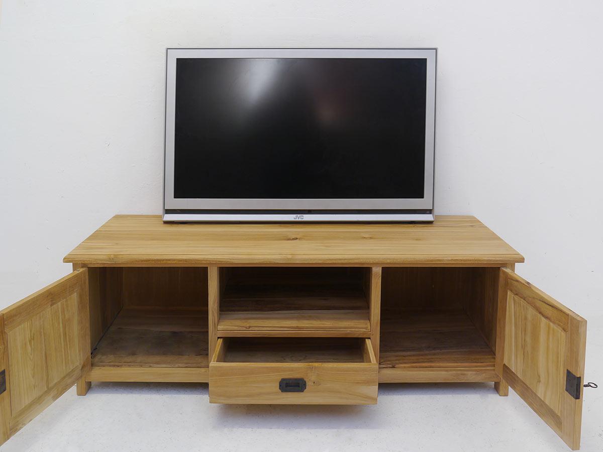 TV-Sideboard mit geöffneten Türen und Schublade