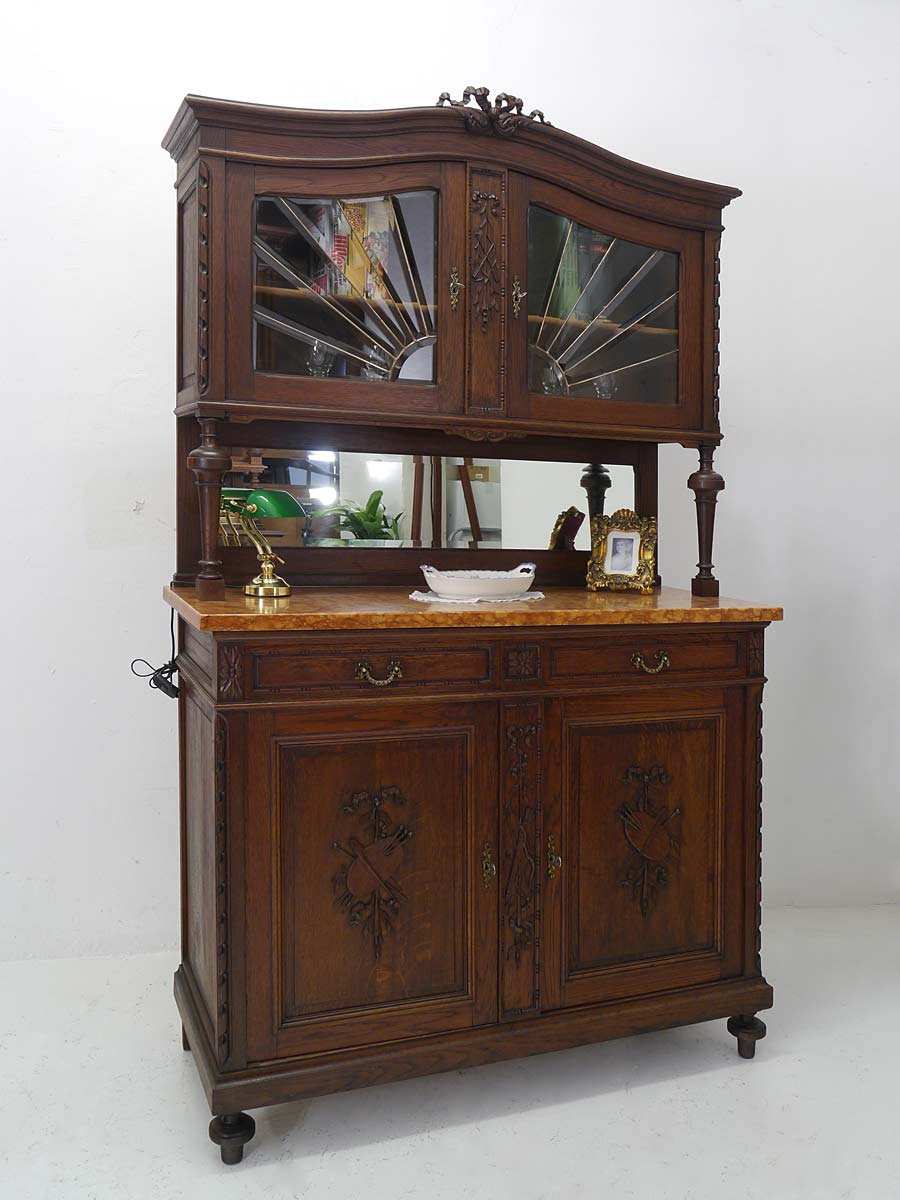 buffetschrank k chenschrank schrank antik jugendstil um 1900 eiche massiv 5012 schr nke. Black Bedroom Furniture Sets. Home Design Ideas
