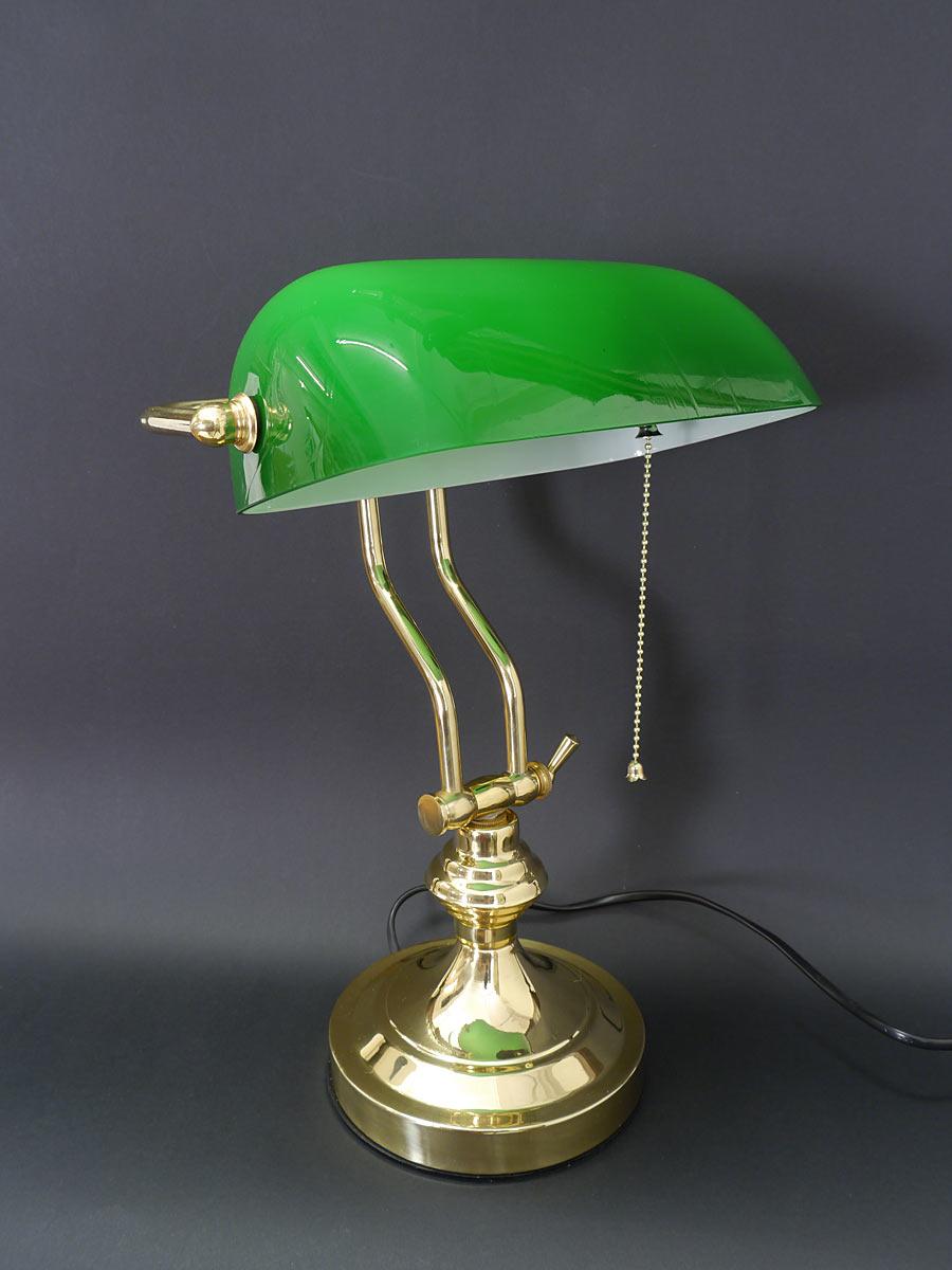 bankerlampe schreibtischlampe lampe leuchte messing mit gr nem glasschirm 5018 lampen tischlampen. Black Bedroom Furniture Sets. Home Design Ideas