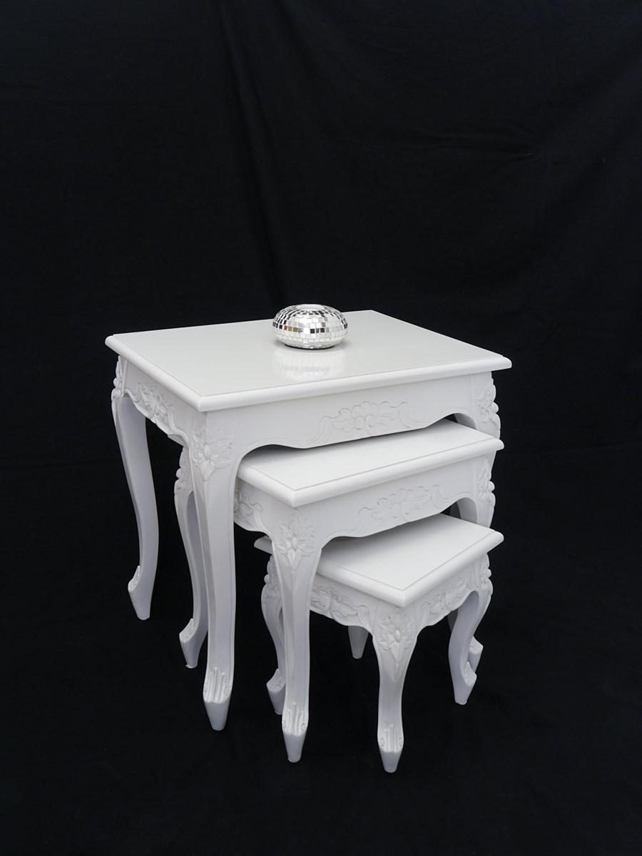 beistelltisch tisch blumentisch 3er set antik stil massiv wei gl nzend 5203 tische beistelltische. Black Bedroom Furniture Sets. Home Design Ideas