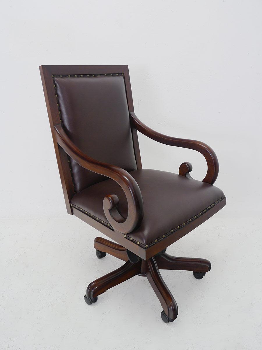 chefsessel b rostuhl b rosessel massivholz braunem echt leder nussbaum 5231 m bel sitzm bel. Black Bedroom Furniture Sets. Home Design Ideas