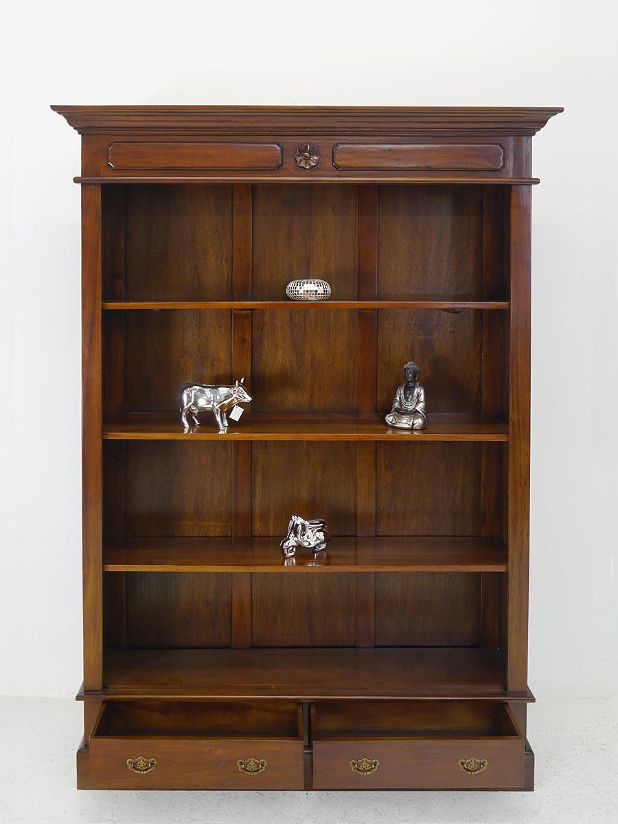 regal b cherregal medienregal mit 2 schubladen massivholz antiker stil 5417. Black Bedroom Furniture Sets. Home Design Ideas