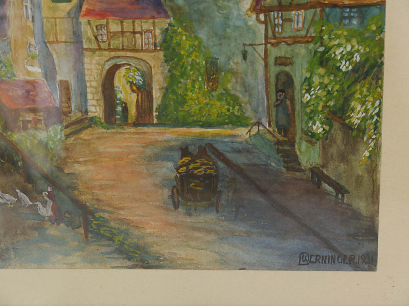 bild aquarell landschaftsbild goldrahmen dorfstra e von werninger 1921 5576 dekoration und. Black Bedroom Furniture Sets. Home Design Ideas