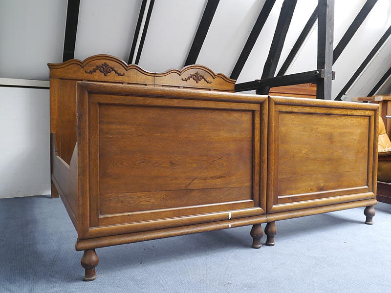 bett doppelbett bettrahmen bettgestell antik um 1920 eiche mm 100x190 cm 5634 m bel betten. Black Bedroom Furniture Sets. Home Design Ideas