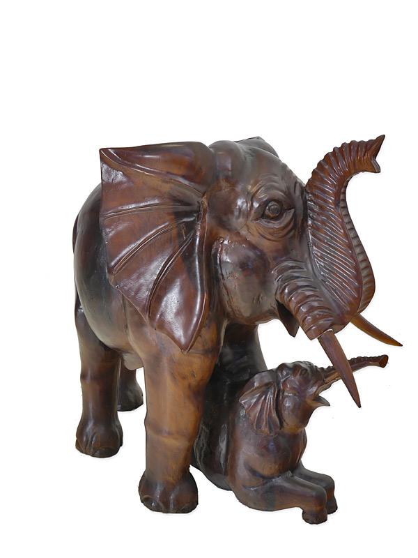 2 Elefanten aus Massivholz
