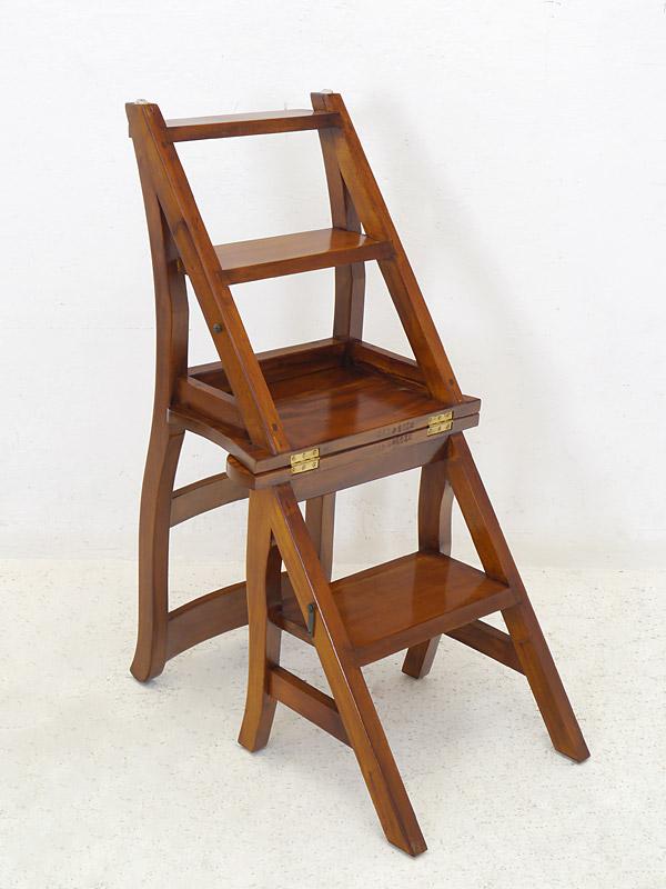 leiterstuhl stuhl treppenstuhl massivholz in nussbaum zum ausklappen 5975 dekoration und. Black Bedroom Furniture Sets. Home Design Ideas