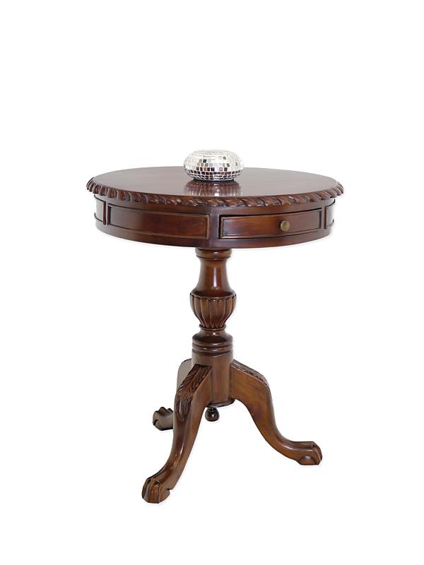 tisch beistelltisch bistrotisch antik stil massivholz 2 schubladen d 60cm 6174 m bel tische. Black Bedroom Furniture Sets. Home Design Ideas