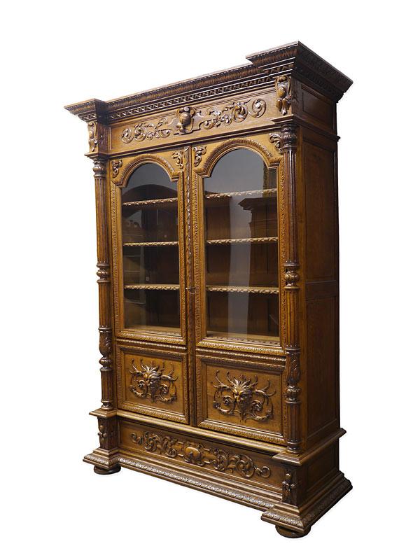 Antiker Bücherschrank Gründerzeit um 1880 aus Eiche