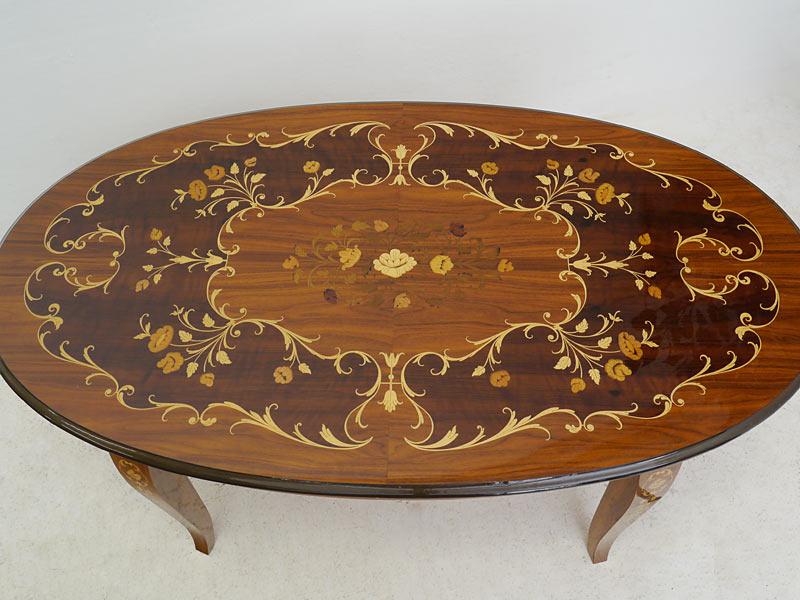 Couchtisch wohnzimmertisch salontisch tisch im antiken for Ovaler wohnzimmertisch