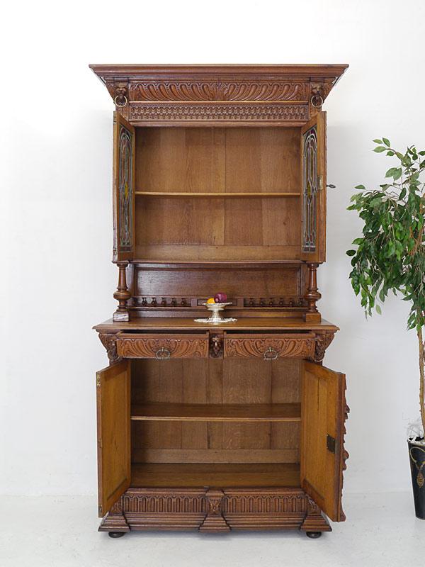 buffet schrank k chenschrank gr nderzeit um 1880 eiche mit bleiverglasung 6469 schr nke. Black Bedroom Furniture Sets. Home Design Ideas