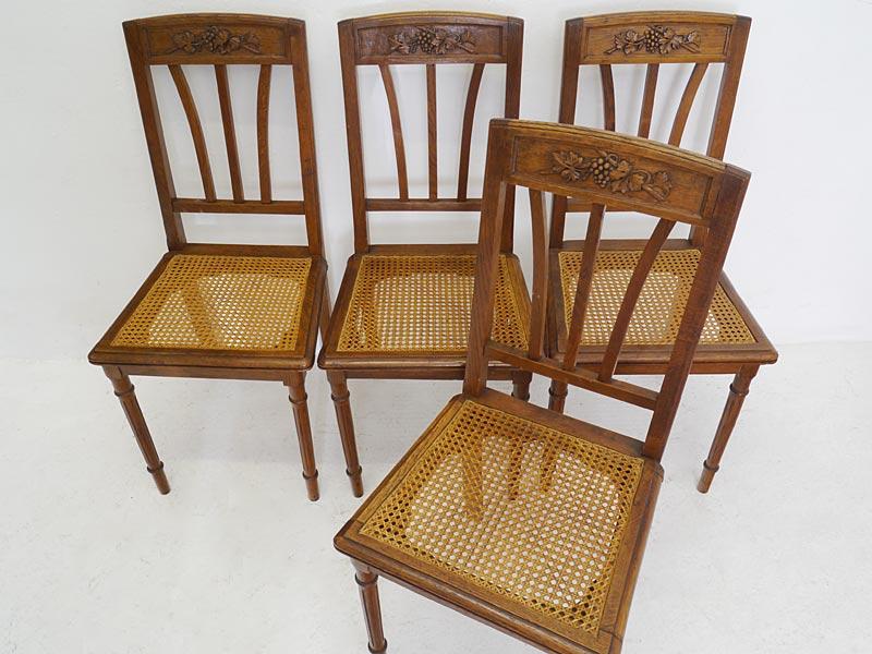 antike fundgrube stuhl st hle 4 lehnst hle antik um 1900 aus eiche mit geflecht 6488 antike. Black Bedroom Furniture Sets. Home Design Ideas