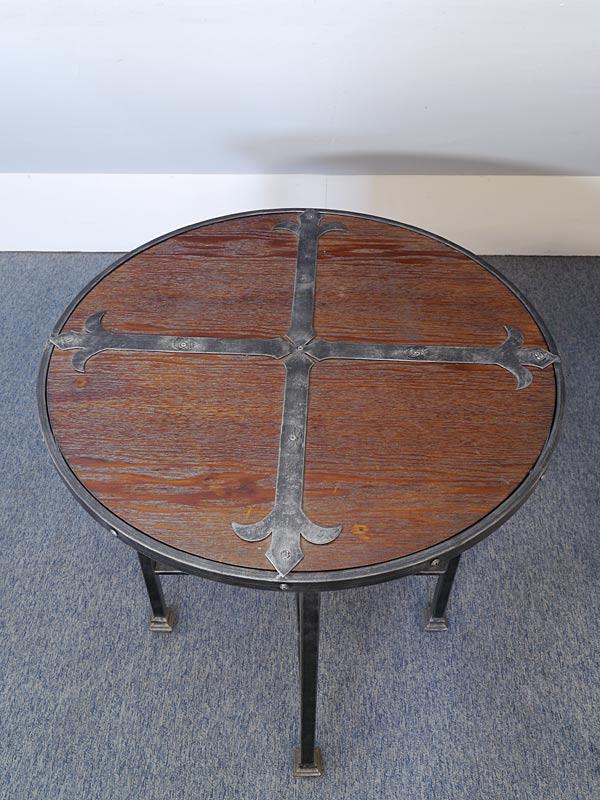 tisch beistelltisch telefontisch rund rustikaler stil metallgestell holz 6565 tische. Black Bedroom Furniture Sets. Home Design Ideas