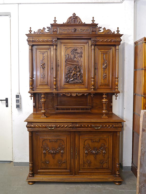 buffetschrank schrank k chenschrank antik um 1880 nussbaum. Black Bedroom Furniture Sets. Home Design Ideas