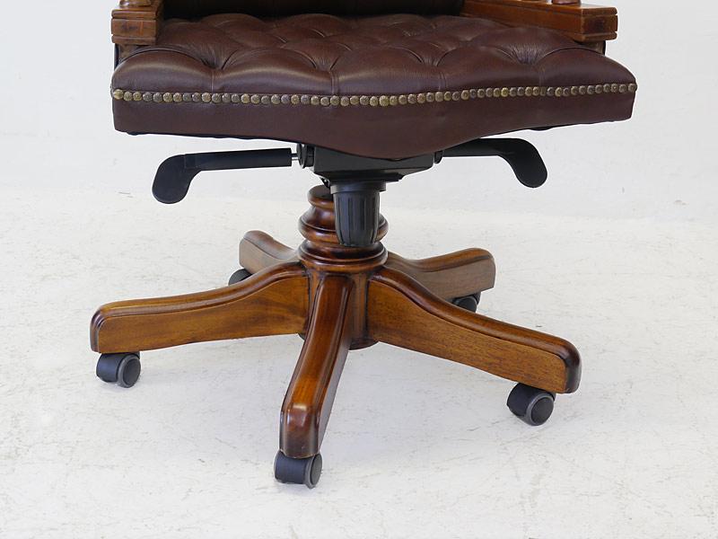b rostuhl drehstuhl chefsessel chesterfield stil massivholz braunes leder 6654 m bel sitzm bel. Black Bedroom Furniture Sets. Home Design Ideas