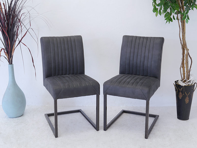 2 Lehnstühle im Industrie Style in anthrazit