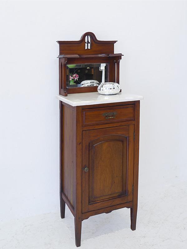 Antiker Nachtschrank mit Spiegelaufsatz um 1920