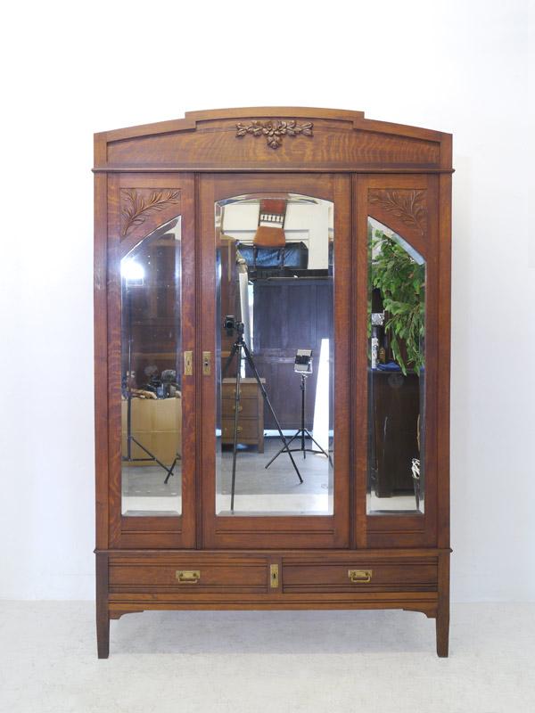 kleiderschrank schrank spiegelschrank antik um 1920 eiche b 140 cm 8312 m bel schr nke. Black Bedroom Furniture Sets. Home Design Ideas