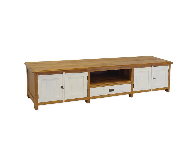 Lowboard modern mit Shabby Chic weiß abgesetzte Tür-und Schubladenfront