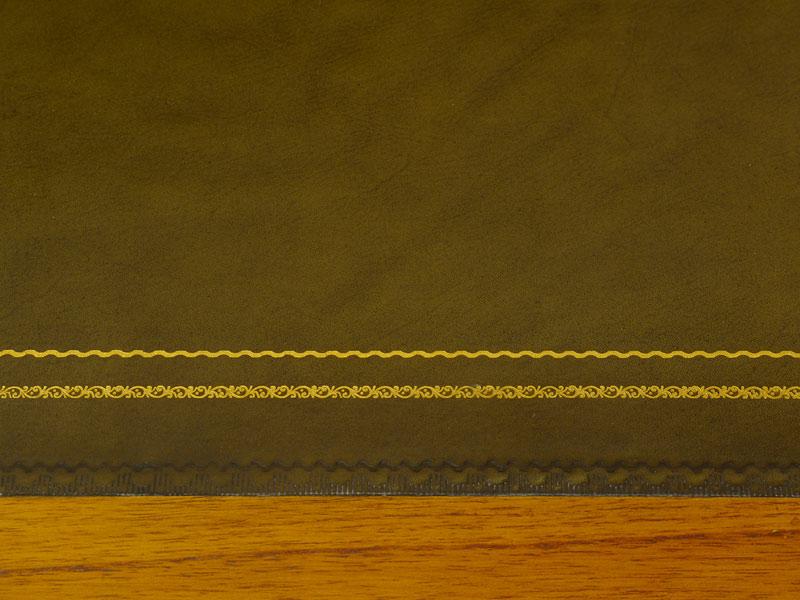 Detailansicht von der grünen Lederauflage